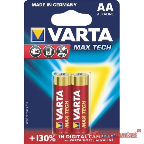 Батарейки Varta AA (LR6/MN1500), Max Tech, alkaline, комплект - 2 штуки, [4706-2]