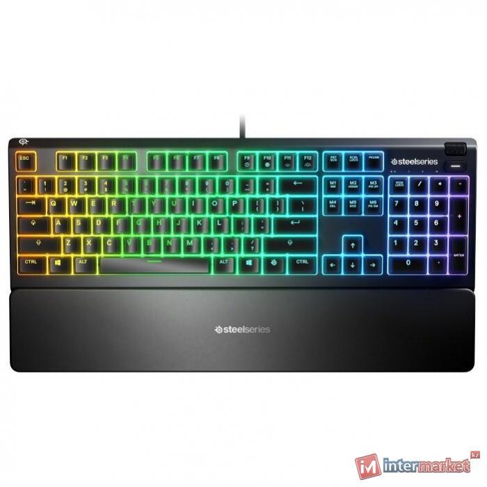 Клавиатура, Steelseries, Apex 3 RU, 64805 Игровая, Мембранные клавиши, IP32, USB, Подсветка RGB, Размер: 444.72151.6239.69 мм., Анг/Рус, Чёрный