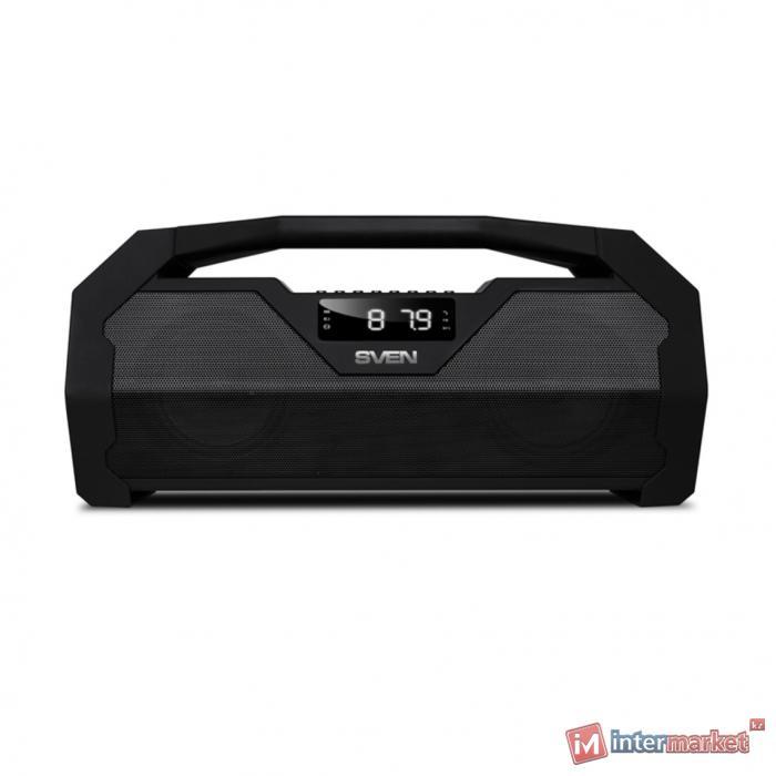 Портативная акустика SVEN PS-470, черный, акустическая система 2.0, Bluetooth, FM, USB, microSD, LED-дисплей /